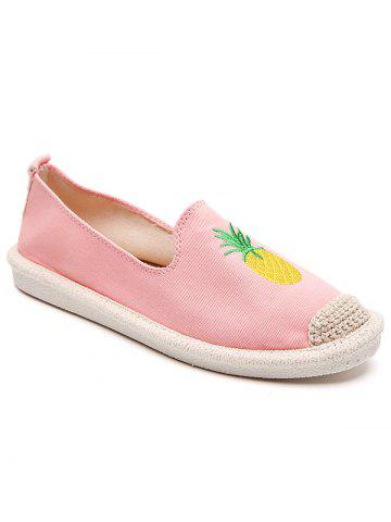 Trendy Embroidery Pineapple Round Toe Straw Loafers