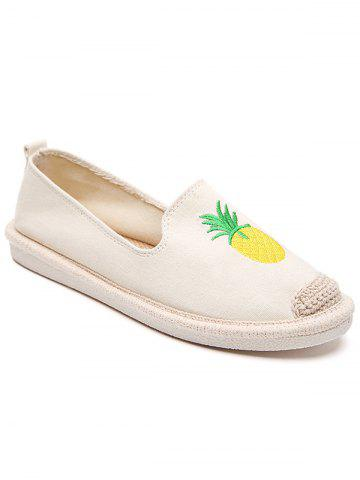 Cheap Embroidery Pineapple Round Toe Straw Loafers