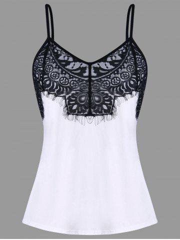 Cheap Eyelash Lace Trim Spaghetti Strap Tank Top