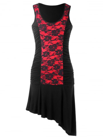 Fancy Lace Trim Sleeveless Asymmetric Dress