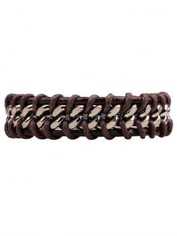Discount Alloy PU Leather Rope Braid Bracelet