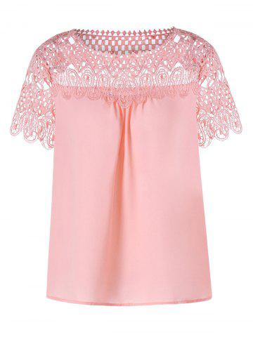 Lace Trim Hollow Out Chiffon Top - PIG PINK - L