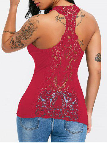 Unique Lace Trim U Neck Racerback Tank Top