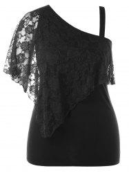 Plus Size One Shoulder Overlay Top -