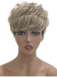 Short Side Bang Layered Colormix Natural Straight Human Hair Wig -