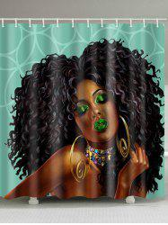 Curly African Girl Print Waterproof Bathroom Shower Curtain - Multi - W71 Inch * L79 Inch