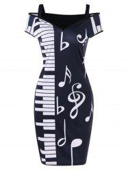 Notes d'épaule froide Piano Party Dress -
