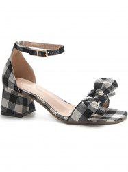 Chunky Heel Plaid Bowknot Sandals -