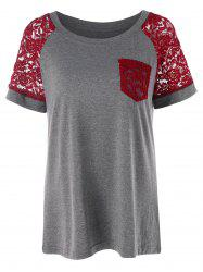 Two Tone Lace Raglan Sleeve T-shirt -