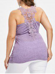Plus Size Lace Trim Ruched Tank Top -