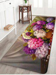 Floral Basket Pattern Water Absorption Area Rug -