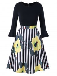 Floral Stripe Print Plus Size Flare Dress -