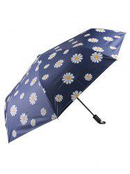 Little Daisy Print Sunny Rainy Black Coating Umbrella -