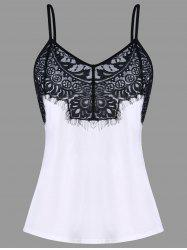 Eyelash Lace Trim Spaghetti Strap Tank Top -
