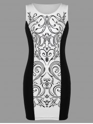 Baroque Print Sleeveless Tight Dress -