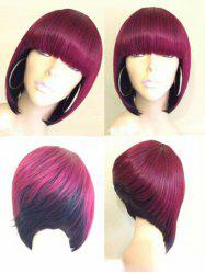 Short Full Bang Colormix Straight Bob Synthetic Wig -