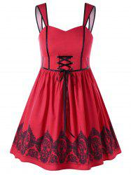 Plus Size Lace Up Vintage Swing Dress -
