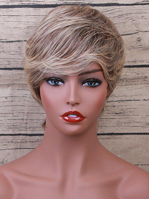 Outfit Short Side Bang Layered Colormix Straight Human Hair Wig