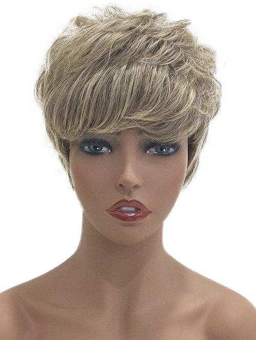 Outfit Short Side Bang Layered Colormix Natural Straight Human Hair Wig