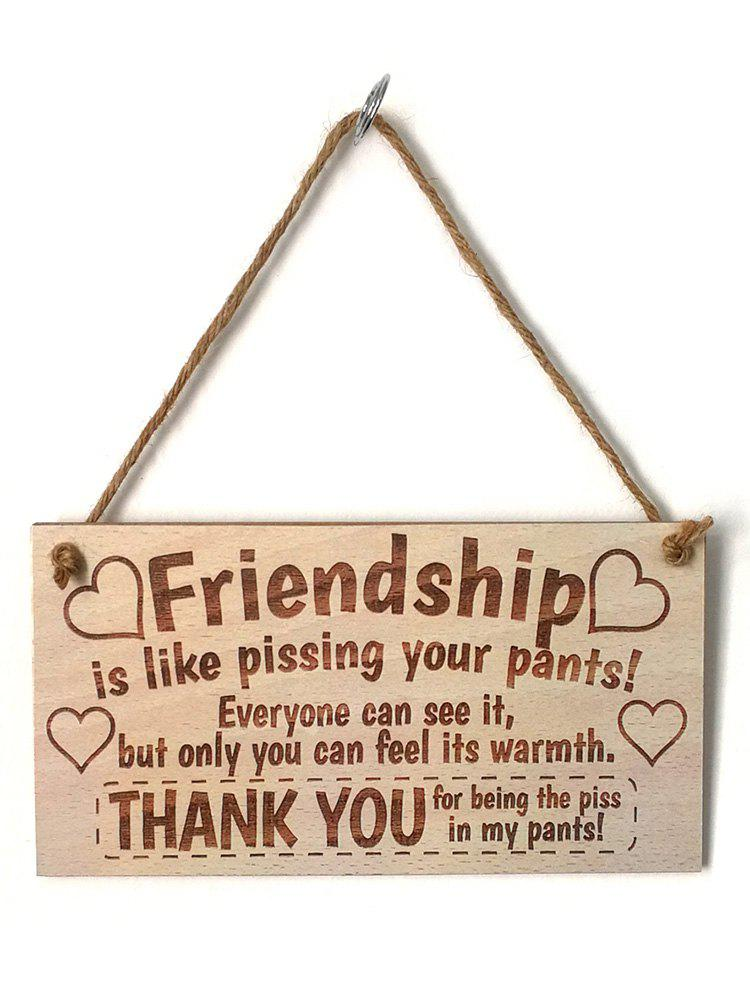 Chic Wall and Door Decor Friendship Signed Hanging Wooden Plaque