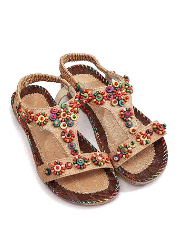 Affordable Ethnic Beads Embellished Flat Heel T Strap Sandals