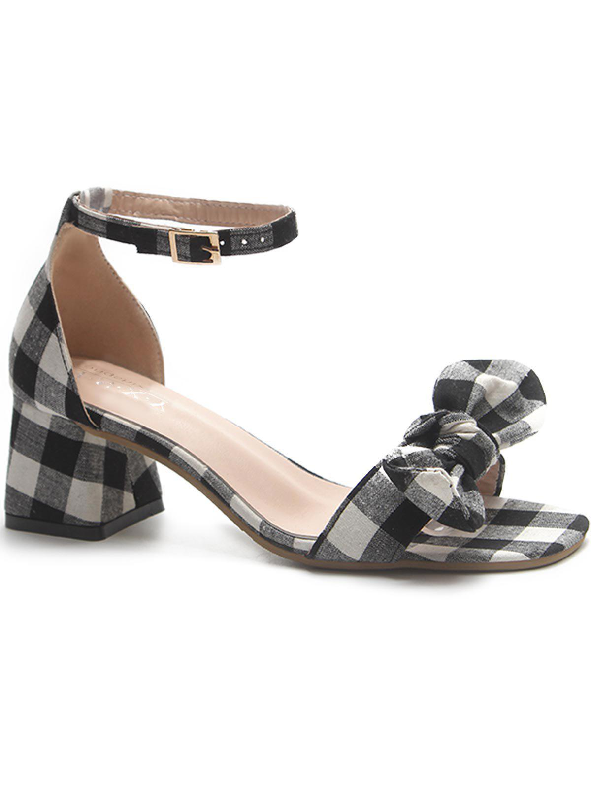 Outfit Chunky Heel Plaid Bowknot Sandals