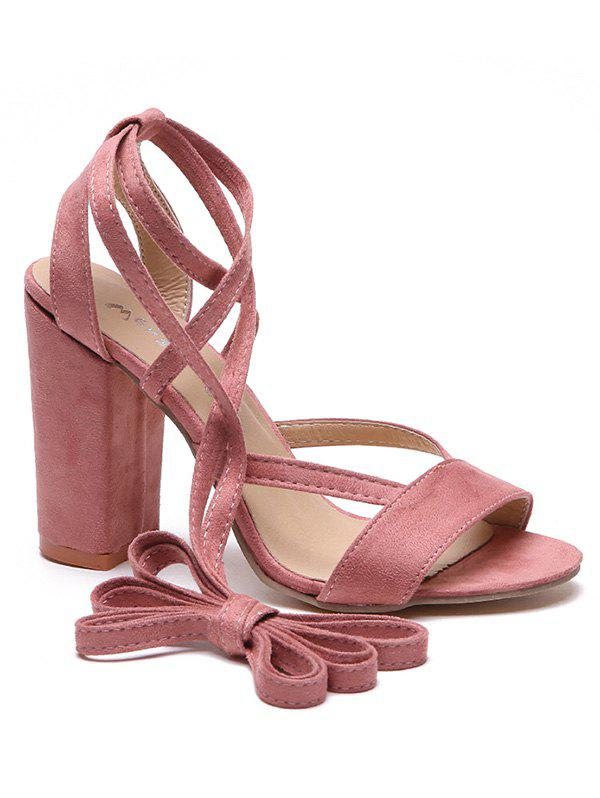 Outfit Block Heel Cross Strap Peep Toe Suede Sandals