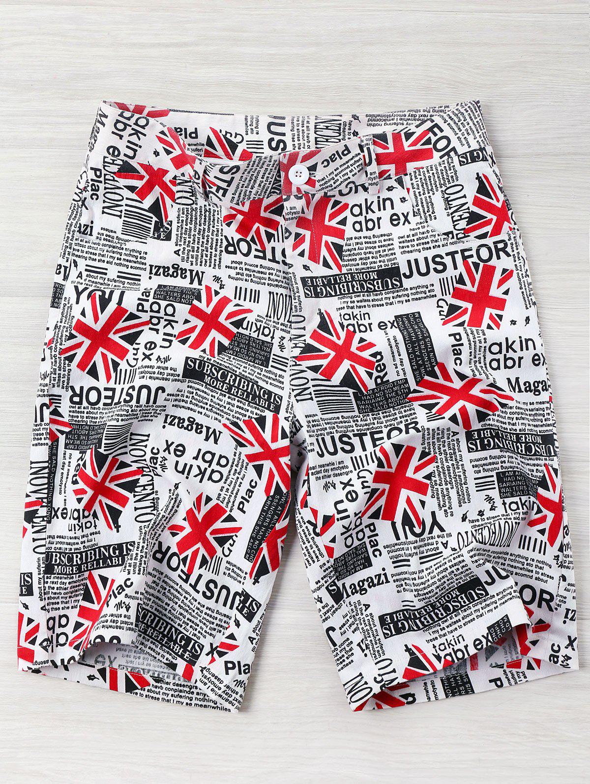 Shops High Rise Union Flag Newspaper Print Shorts