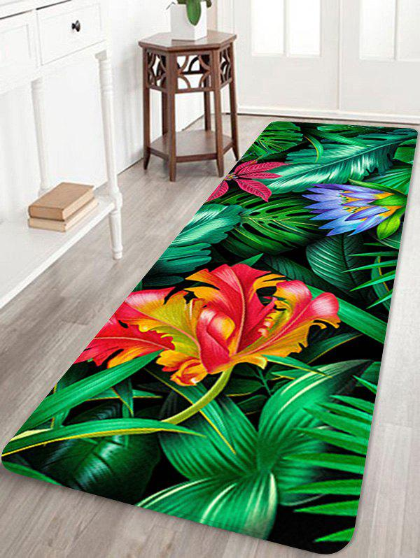 Affordable Forest Flowers Printed Home Decor Floor Mat