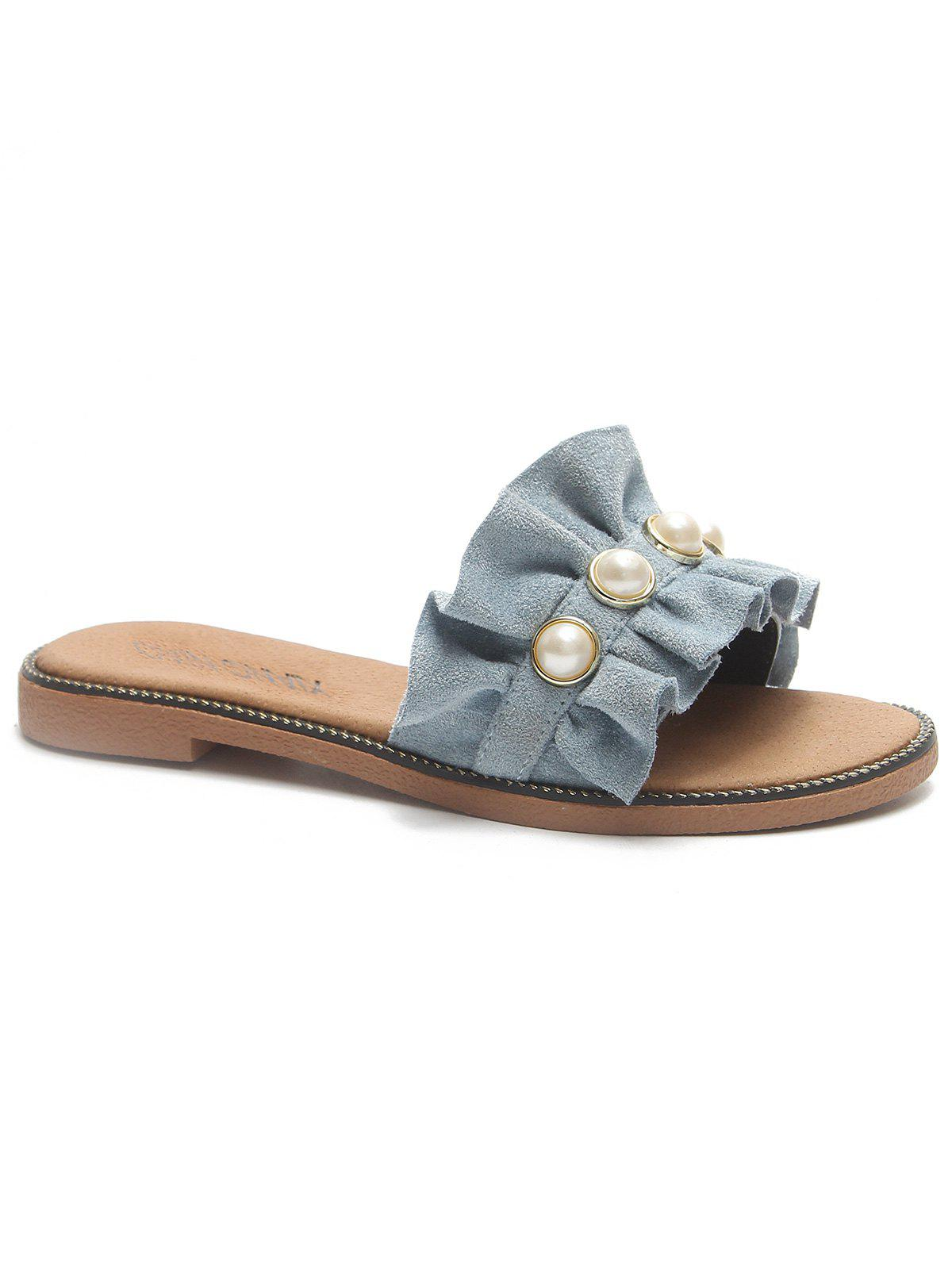 Affordable Ruffled Suede Faux Pearl Flat Heel Sandals