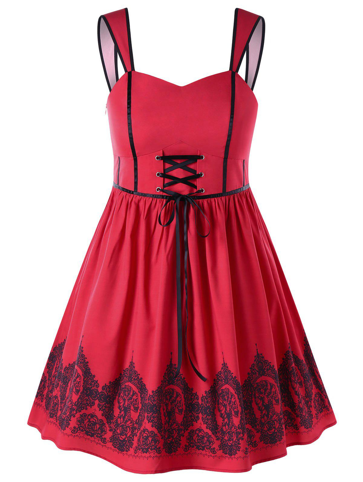 Sale Plus Size Lace Up Vintage Swing Dress