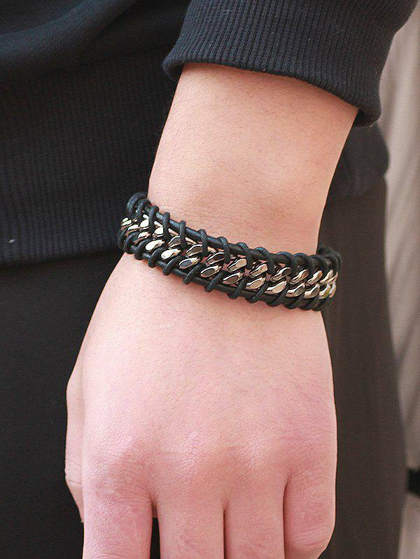 Online Alloy PU Leather Rope Braid Bracelet