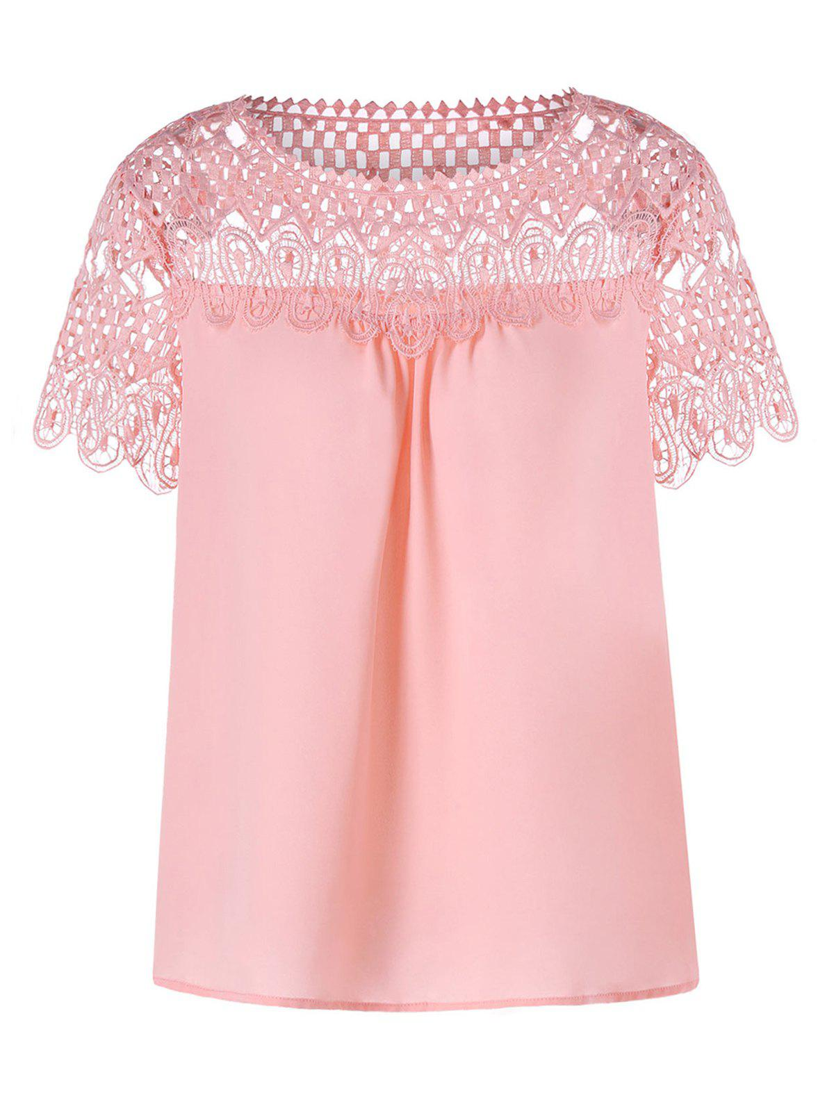 Cheap Lace Trim Hollow Out Chiffon Top