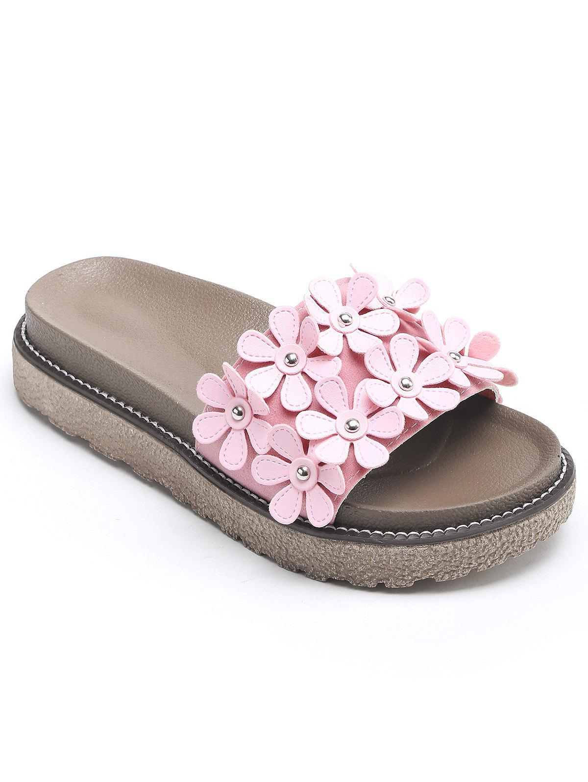 Discount All Over Floral Platform Outdoor Slippers