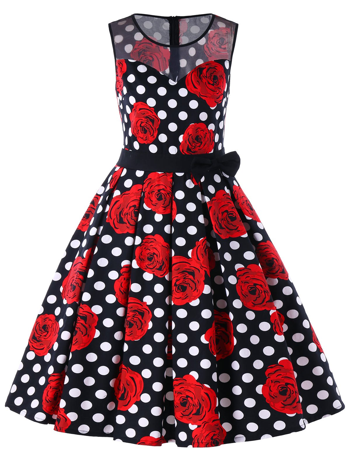 Affordable Floral Polka Dot Sleeveless Vintage Dress