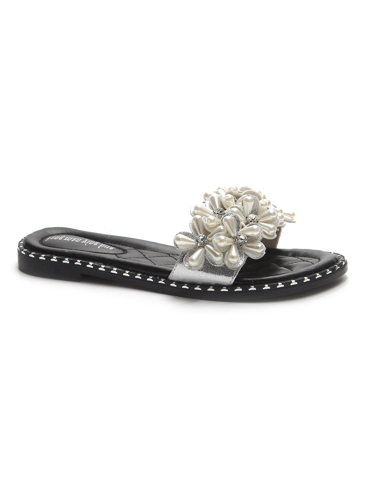 Outfits Flat Heel Faux Pearls Leisure Slides