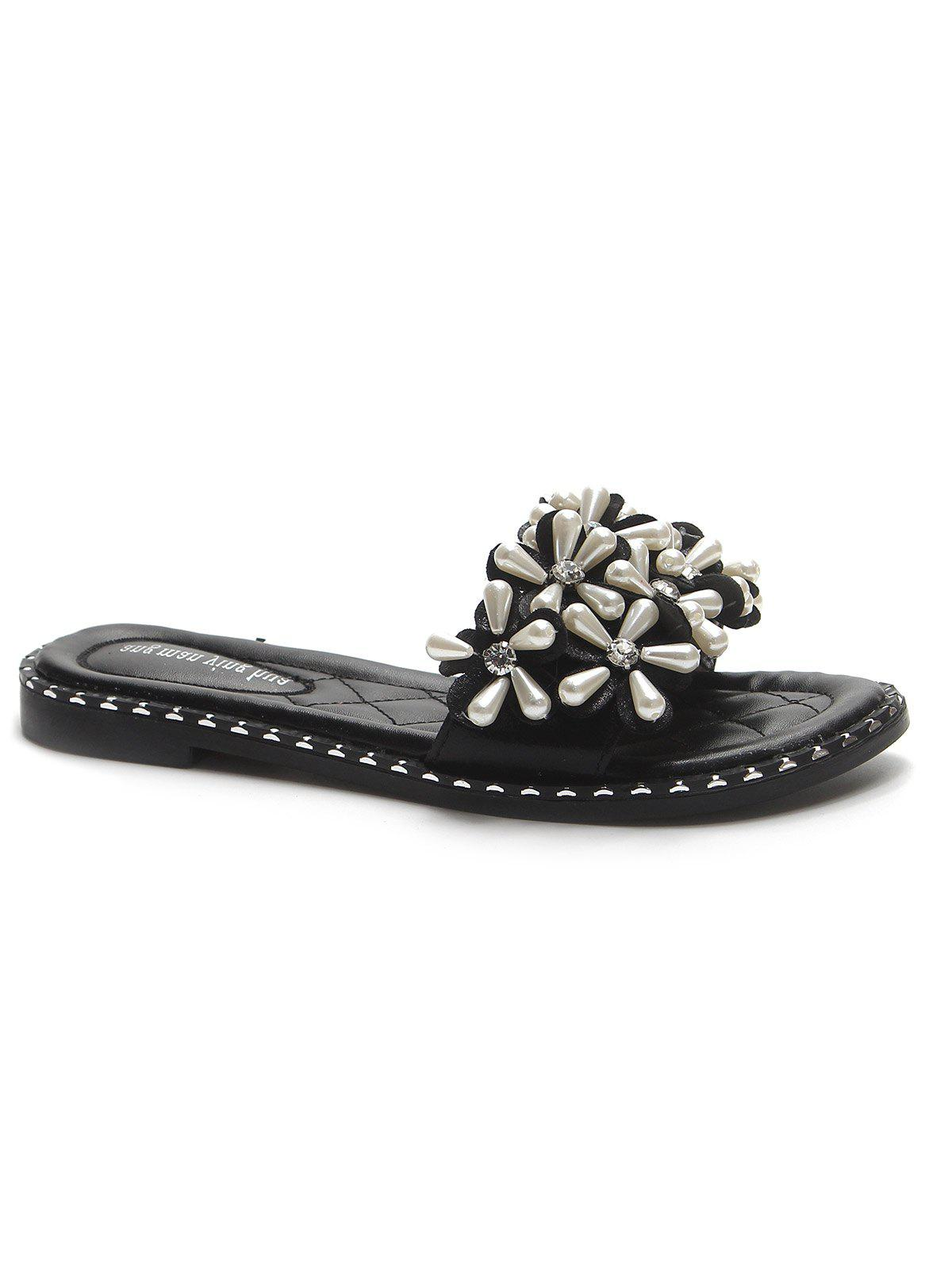 Unique Flat Heel Faux Pearls Leisure Slides