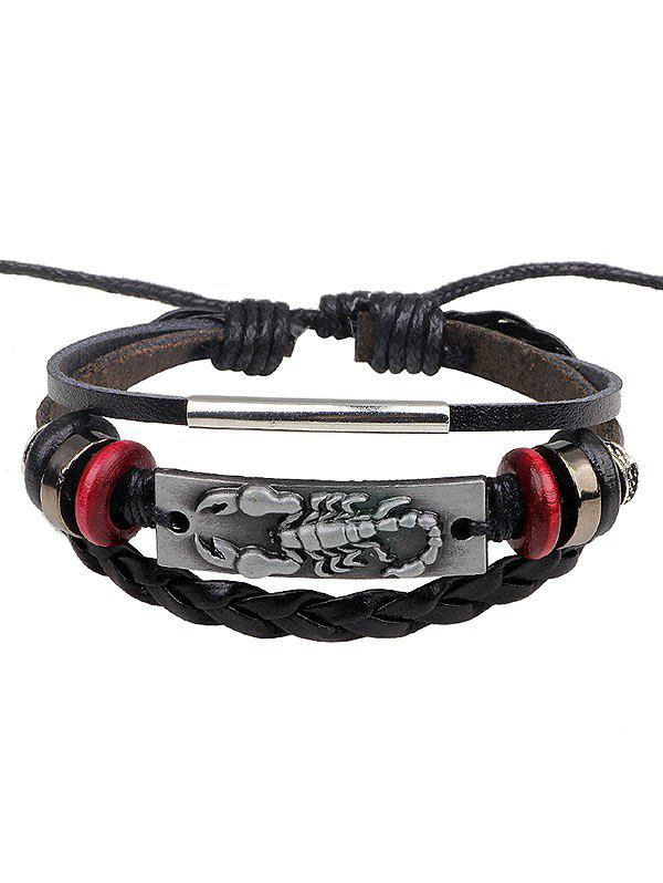 Outfit Faux Leather Rope Braid Engraved Scorpion Bolo Bracelet
