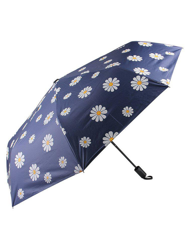 Outfits Little Daisy Print Sunny Rainy Black Coating Umbrella