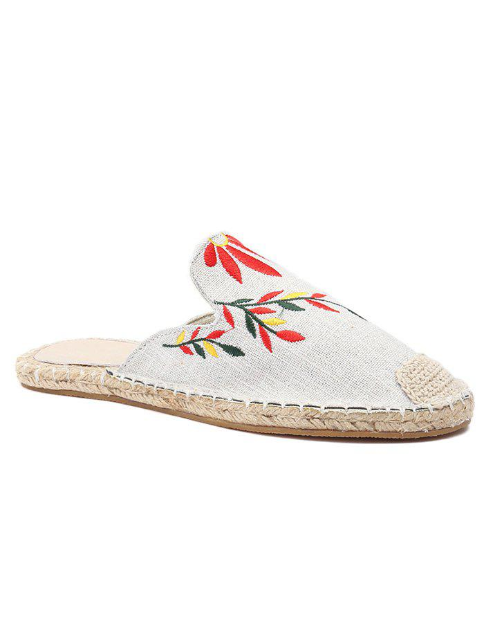 New Casual Flat Heel Espadrille Embroidery Mules Shoes