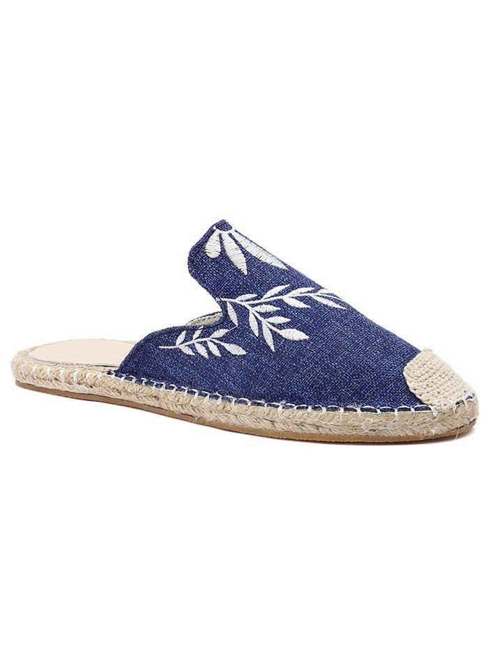 Cheap Casual Flat Heel Espadrille Embroidery Mules Shoes