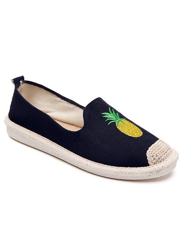 Hot Embroidery Pineapple Round Toe Straw Loafers
