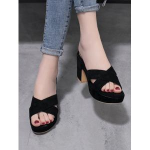 Suede Block Heel Criss Cross Sandals -