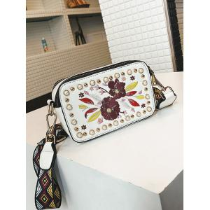 Studded Faux Pearl Floral Decorated Crossbody Bag -