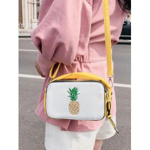 Embroidery Fruit PU Leather Crossbody Bag -