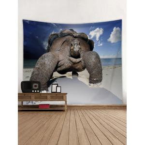 Turtle Crawling on the Beach Print Tapestry -