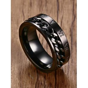 Metal Roman Numerals Chain Finger Ring -