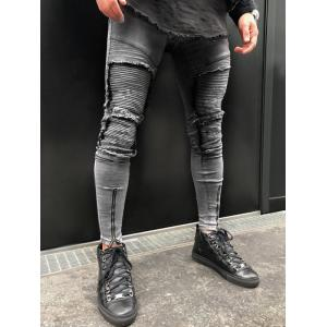 Patch Zipper Decorated Ripped Jeans -
