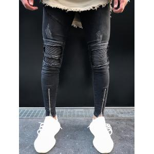Slim Fit Distressed Denim Pants -