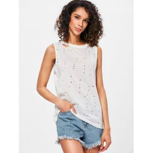 Ripped Holes Back Cut Out Tank Top -